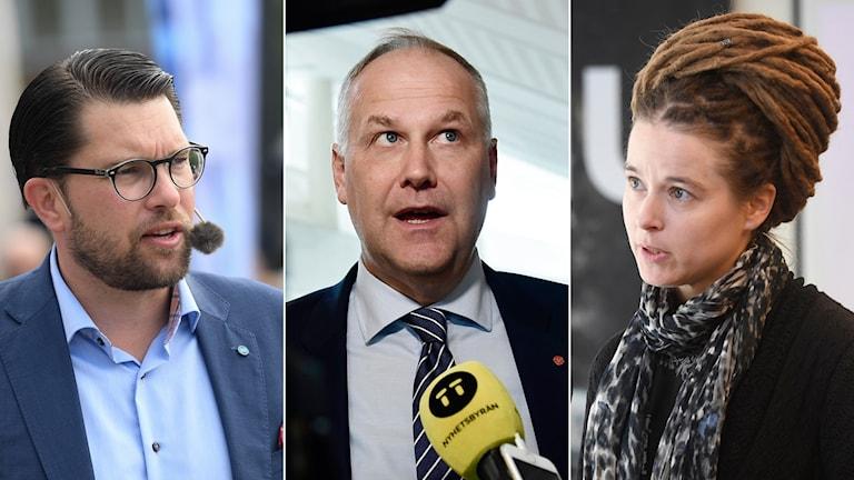 Jimmie Åkesson (SD), Jonas Sjöstedt (V) och  Amanda Lind (MP).