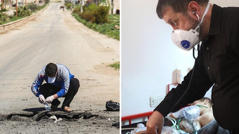 Bilder från gasattacken i Syrien.