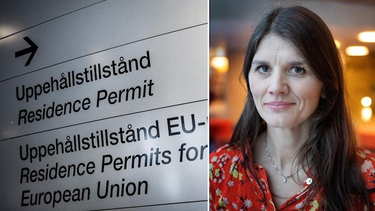Montage på skylt för uppehållstillstånd och statsvetaren Jenny Madestam.