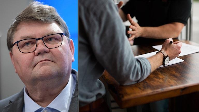 Delad bild: man i glasögon och personer på ett möte