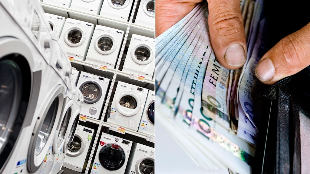 Tvättmaskiner i en vitvarubutik, till höger man drar upp gamla sedlar ur en plånbok.