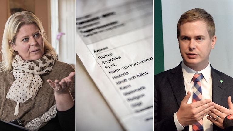 Camilla Waltersson Grönvall, utbildningspolitisk talesperson (M) och utbildningsminister Gustav Fridolin (MP).