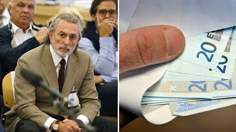 Till vänster: Affärsmannen Francisco Correa. Till höger: bilder på eurosedlar.