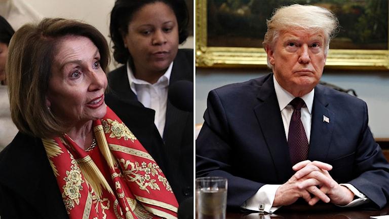 Demokraternas Nancy Pelosi och president Donald Trump.