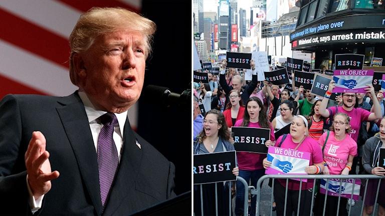 Trump och demonstration mot förslag om att stoppa transpersoner från militären