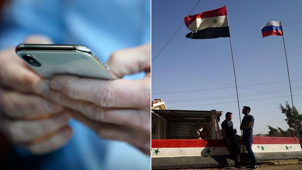 Man håller i en smart telefon. Den syriska och ryska flaggan vajar sida vid sida i Syrien.