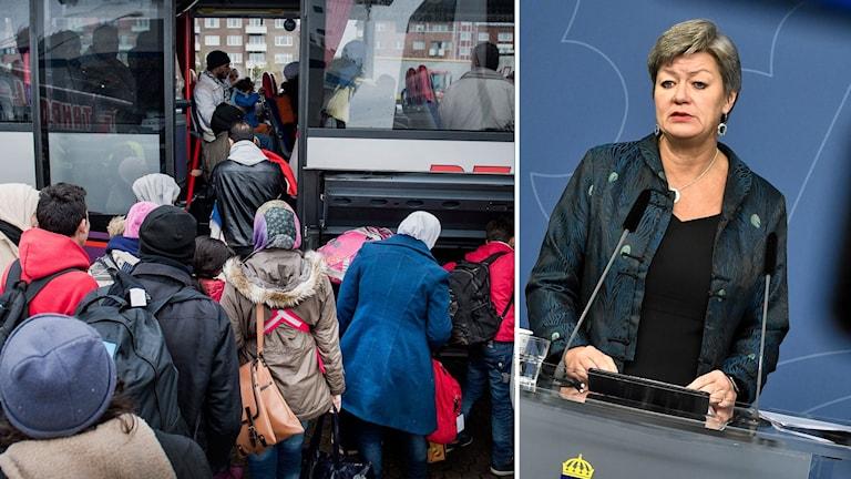 Delad bild: Ylva Johansson vid presskonferensen och flyktingar som kliver på en buss.