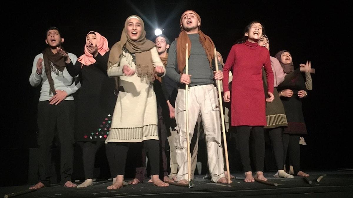 """Pjäsen som flyktingungdomarna satt upp heter """"Elefanten, Ers Majestät"""" av en känd syrisk dramatiker, SaadAllah Wannous."""