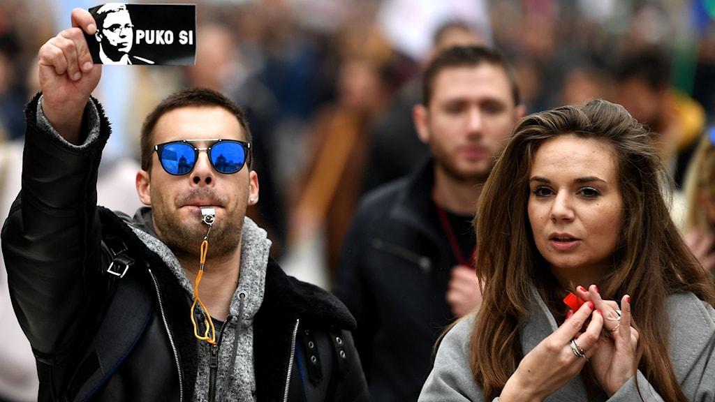 Protester i Serbiens huvudstad Belgrad