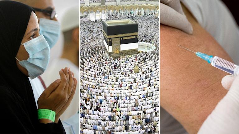 Tredelad bild: Muslimsk kvinna med munskydd, troende runt Kaaba i Stora Moskén i Mecka, vaccinationsspruta.