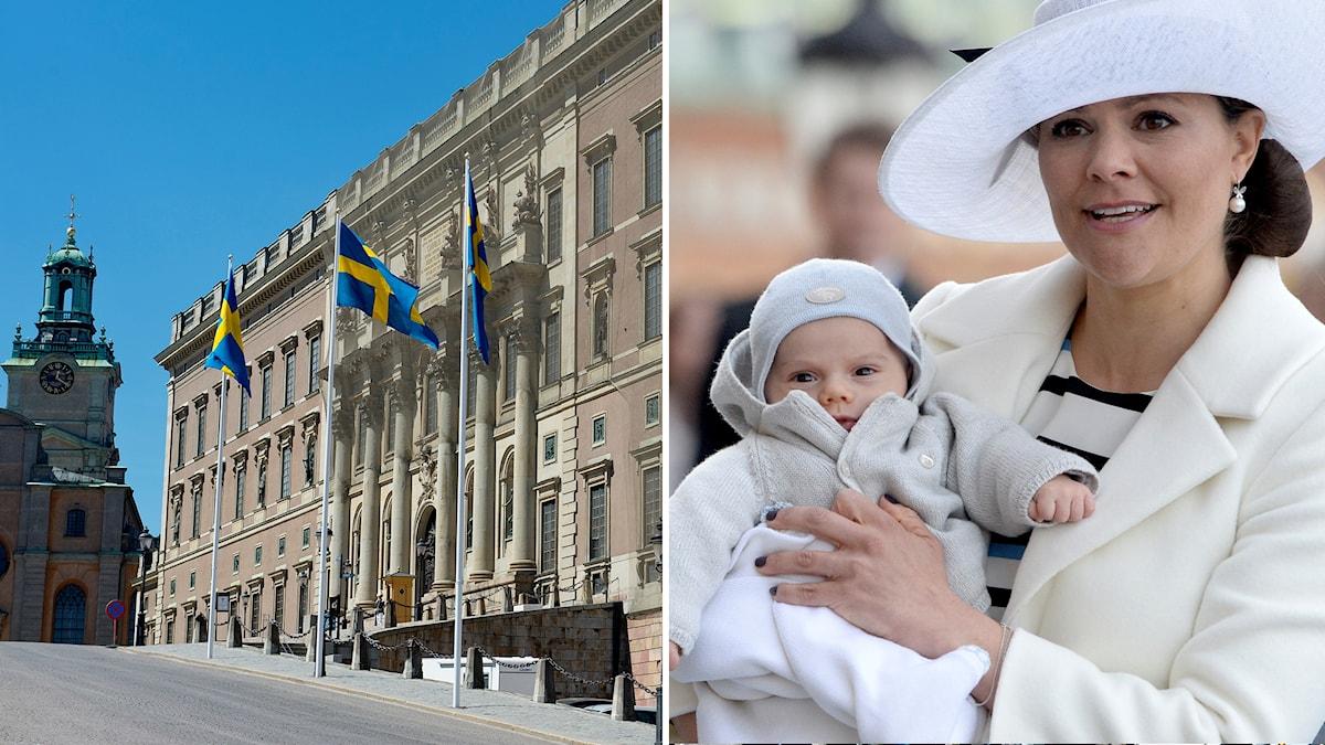 Flaggor hissade vid slottet. Prins Oscar i kronprinsessan Victorias famn.