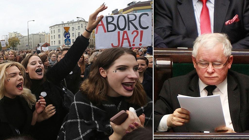Delad bild: kvinnor som protesterar och man i parlamentet