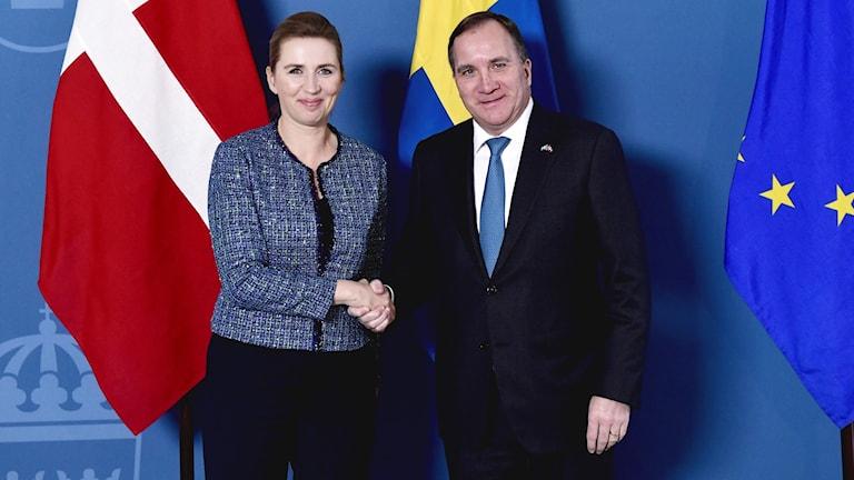 Danmarks statsminister Mette Frederiksen och Sveriges statsminister Stefan Löfven.
