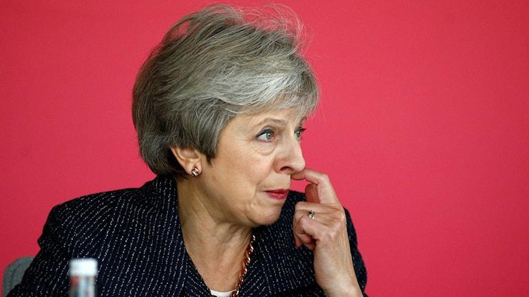 Theresa May, sittandes, kliar sig under näsan