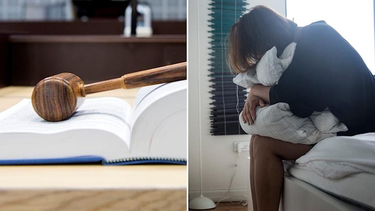 En domarklubba och en kvinna som har ansiktet i en kudde.