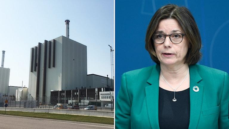 Till vänster: Forsmarks kärnkraftverk. Till höger: miljö- och klimatminister Isabella lövin (MP).