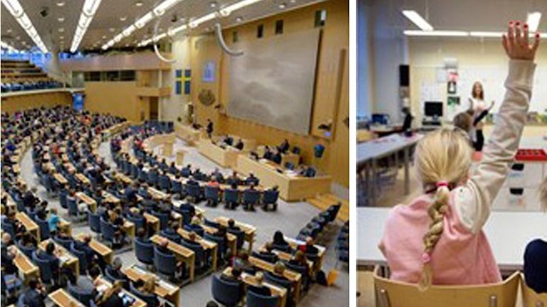 Riksdagen, flicka i skolan. Foto: TT/Sveriges Radio.