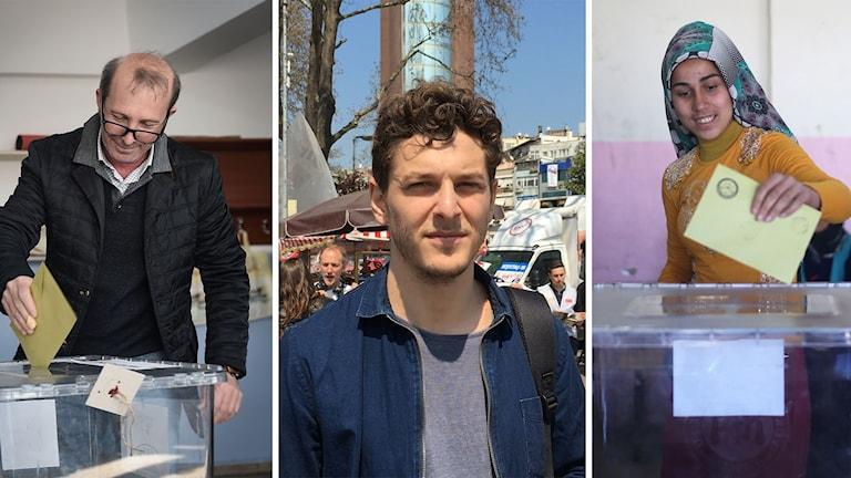 Människor röstar och bild på reporter