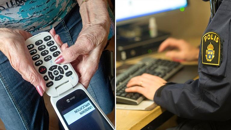 Delad bild: Äldre kvinna håller en mobiltelefon, polis sitter vid en dator.