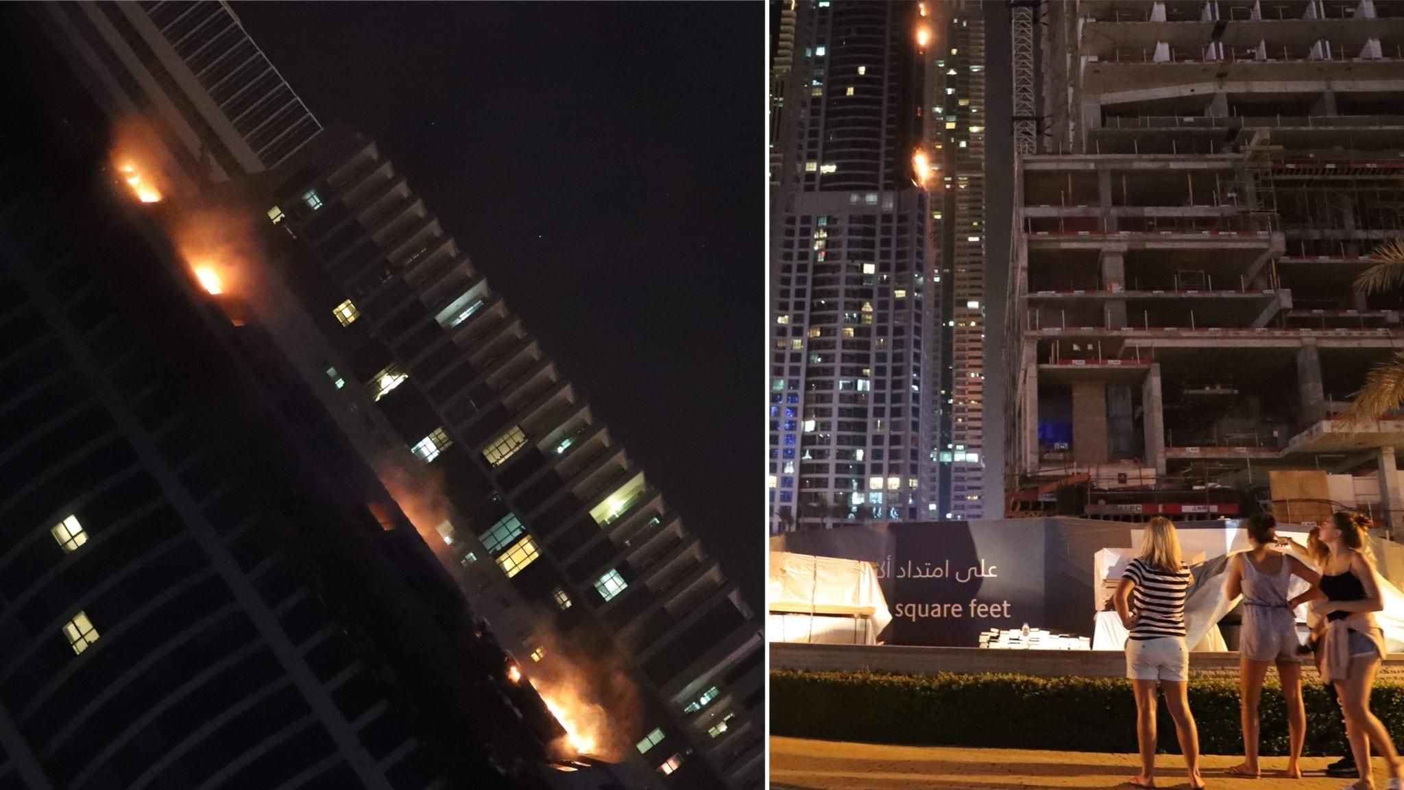 Skyskrapa i dubai i lagor manga skadade