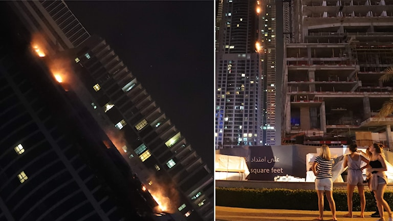 Skyskrapa brinner i Dubai.