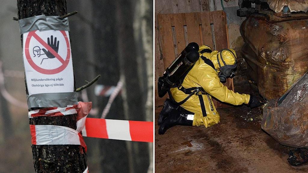 Delad bild: Skylt med texten miljöundersökning pågår och person i skyddsutrustning som tar hand om rostiga tunnor.