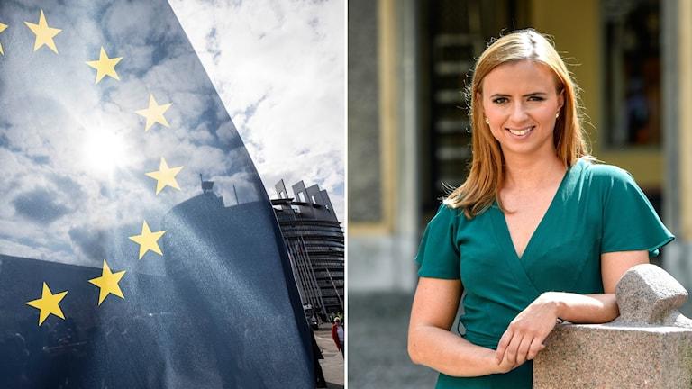 Bild på Sara Skyttedal och EU-flaggan