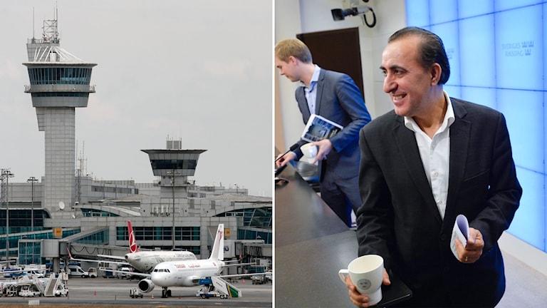 Bild på flygplatsen i Istanbul och på Jabar Amin.