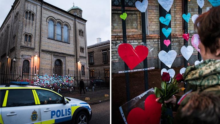 Synagogan i Göteborg kärleksbombas efter lördagskvällens attack.