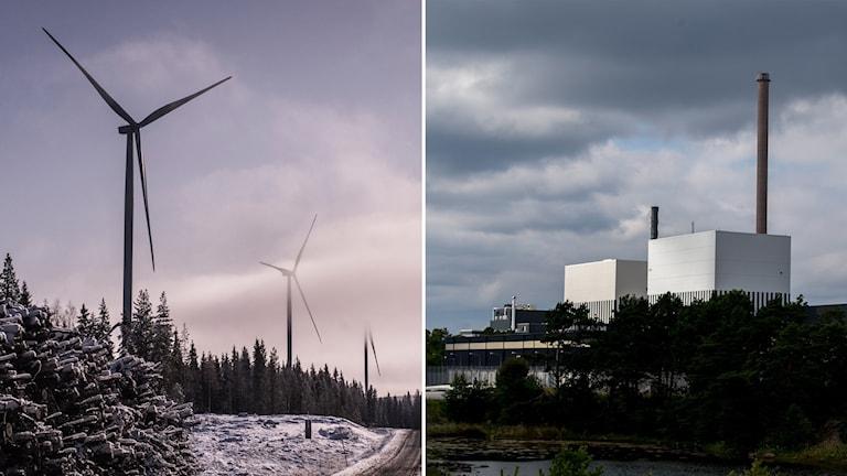 Delad bild: Vindkraftverk och kärnkraftverk