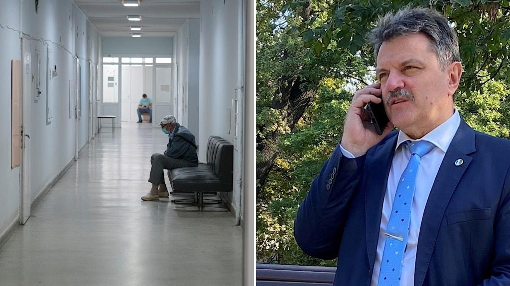 Delad bild: Sjukhuskorridor med en person med munskydd, man med mustasch som talar i telefon.