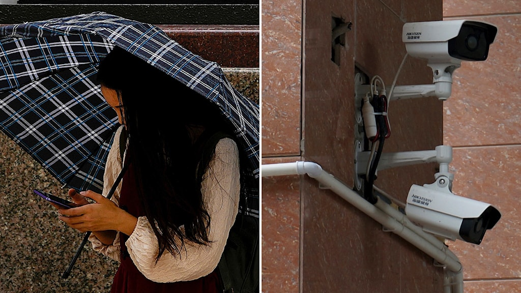 Tvådelad bild med mörkhårig kvinna under paraply som håller på med sin mobil till vänster och en övervakningskamera till höger.
