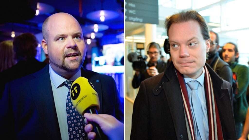 Martin Kinnunen, Sverigedemokraternas ledamot i miljö- och jordbruksutskottet och Kristdemokraternas partisekreterare Peter Kullgren.