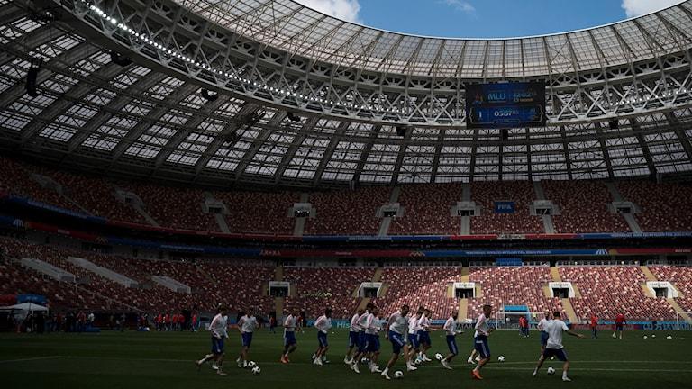 Träning i arena i Moskva inför VM