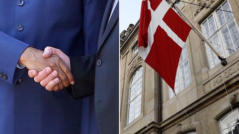 Ett par händer skakar hand. Till höger den danska flaggan.