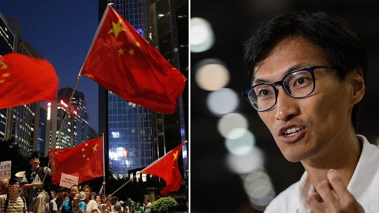Delad bild: demonstranter med kinesiska flaggor, man med glasögon
