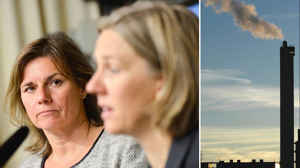 Klimatminister Isabella Lövin (MP) och miljöminister Karolina Skog (MP)