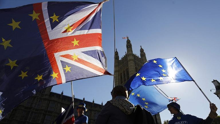EU- och storbritanniens flaggor.