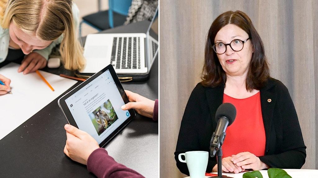 Elev med dator och papper och penna och utbildningsminister Anna Ekström (S).