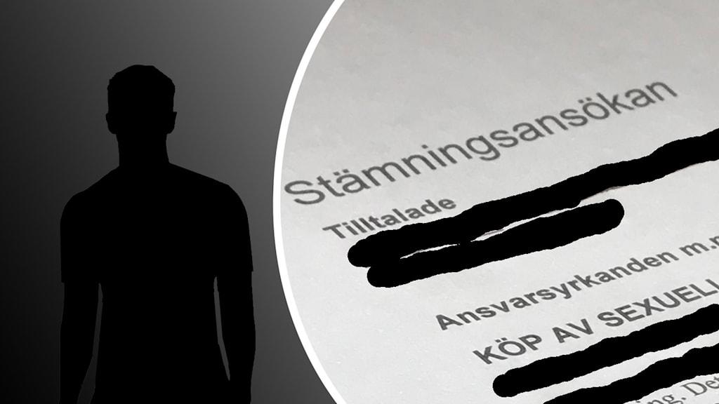 Silhuette av ung man intill en stämningsansökan för köp av sexuell tjänst