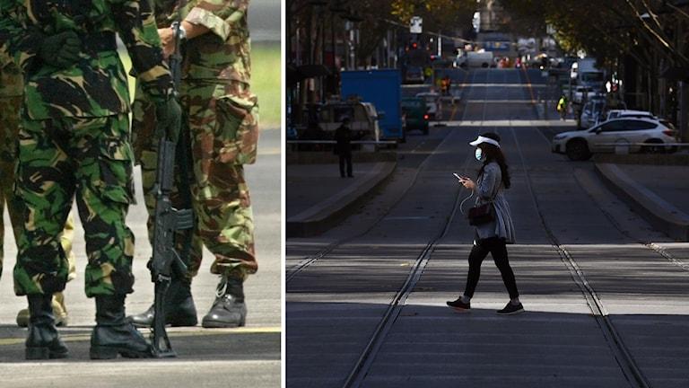 soldater och en person på en gata.