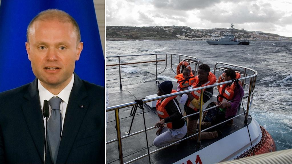 Delad bild: premiärminister framför flagga, migranter på ett militärfartyg.