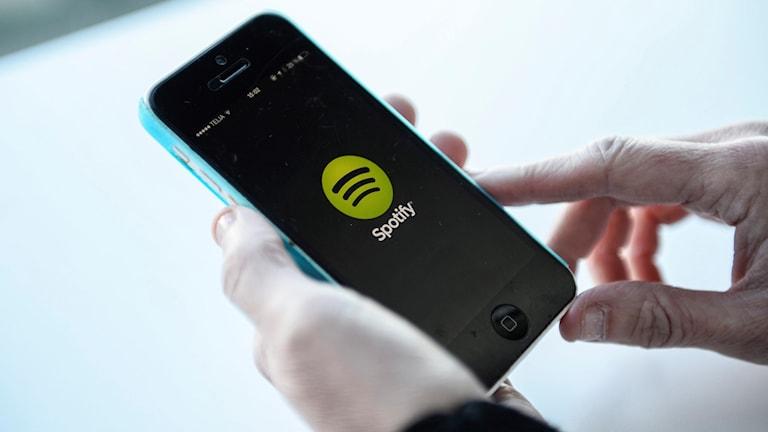 Spotify, mobilen. Foto: Fanni Olin Dahl/ TT.