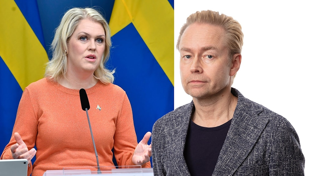 Montage med socialminister lena Hallengren och Ekots inrikespolitiska kommentator Fredrik Furtenbach