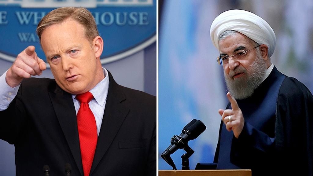 Vita husets talesperson Sean Spicer och Irans president Hassan Rouhani