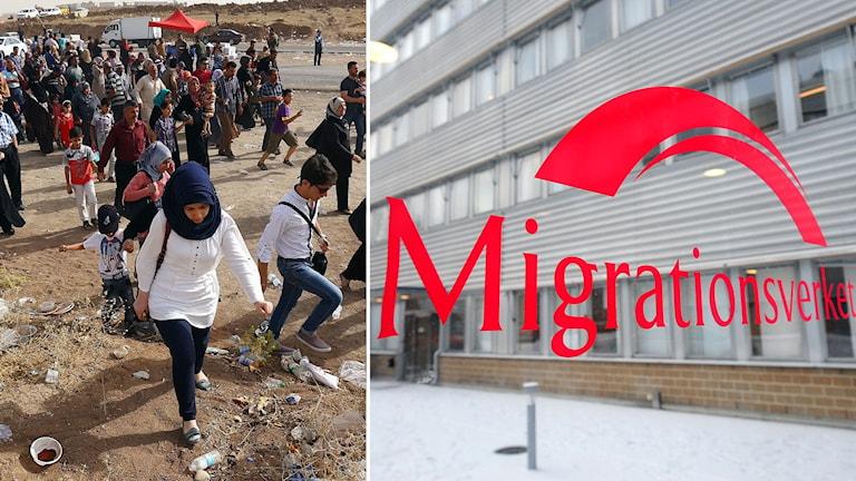 Människor flyr från Mosul i Irak. Till höger en bild på Migrationsverkets lokaler i Hallonbergen. Foto: AP och Anders Wiklund/TT