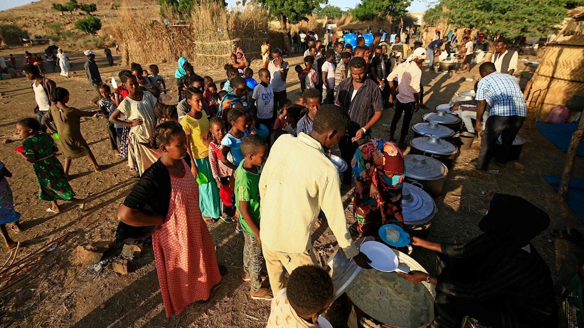 Läger i Sudan där Etiopiska flyktningar flytt från striderna i Tigray