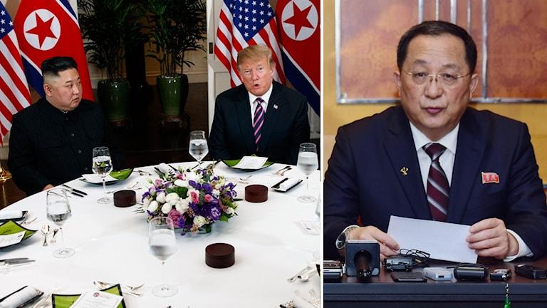 Två män vid ett middags bord och en man vid en pressträff.