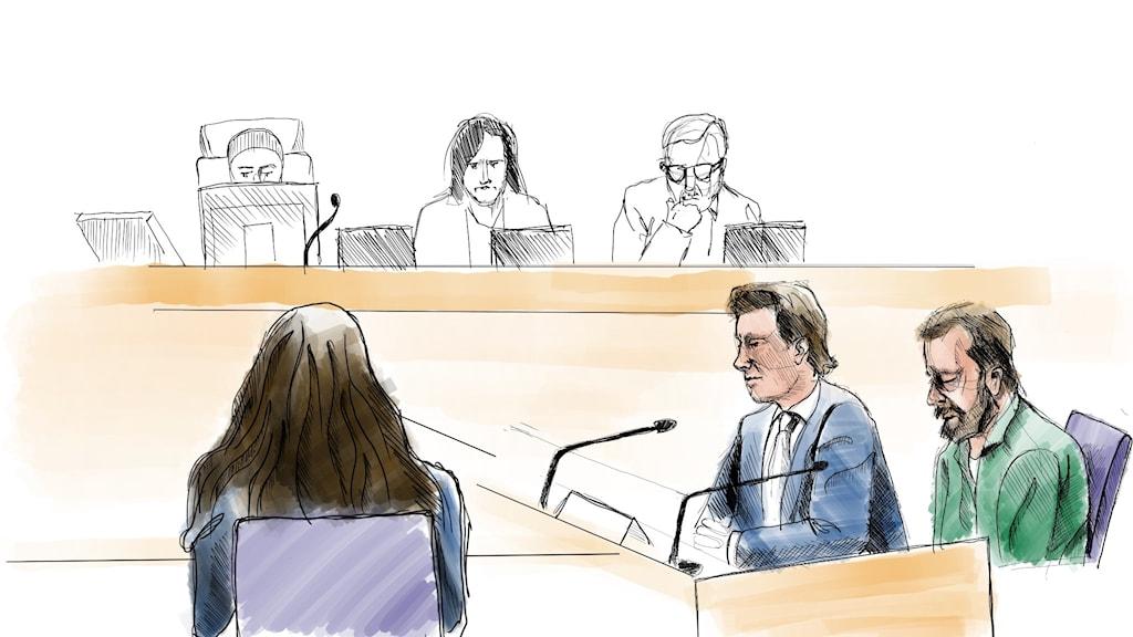 En tecknad bild av den åtalade 37-åringen och hans försvarare.