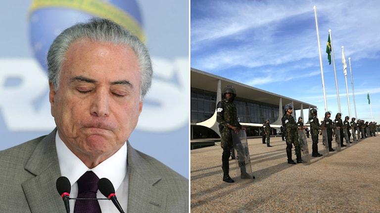 Persidenten i Brasilien som blundar och poliser som vaktar presidentpalatset.